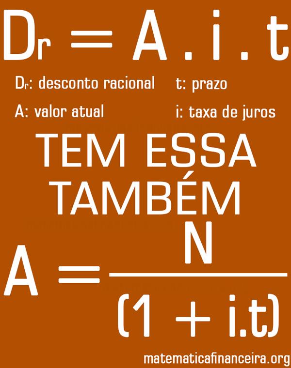 Fórmula do desconto racional simples