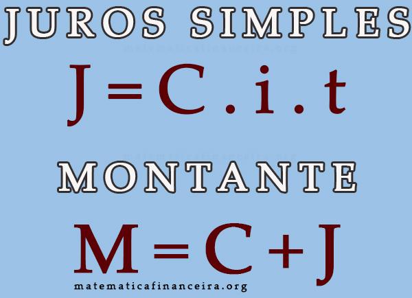 Fórmula dos juros simples e montante