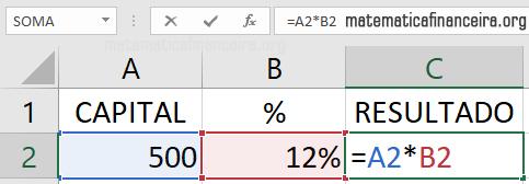 Porcentagem com Excel